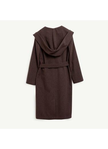 Yargıcı Kadın Kapiþonlu Uzun Palto 9KKPL5146X303 Kahve